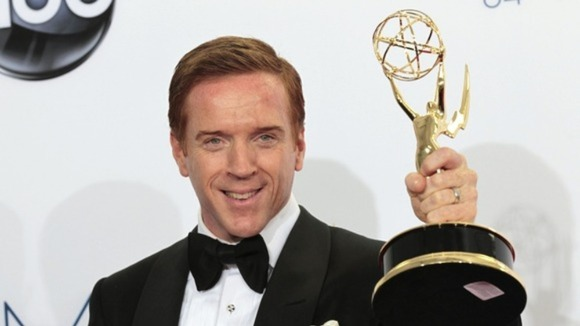 Damien Lewis with his outstanding lead actor in a drama series Emmy.