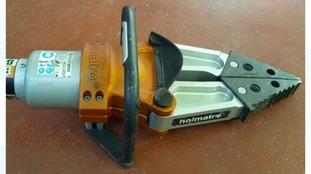 A piece of the stolen equipment