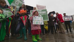 Campaigners stage protest over homes on green sites