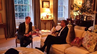 The Duke of Cambridge chats with the President and First Lady before dinner at Kensington Palace