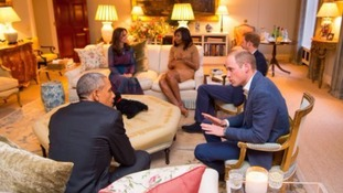 The Duke, Duchess and Prince Harry talk with the President and First Lady