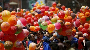 Balloons were released to mark the anniversary of the Nepal earthquake