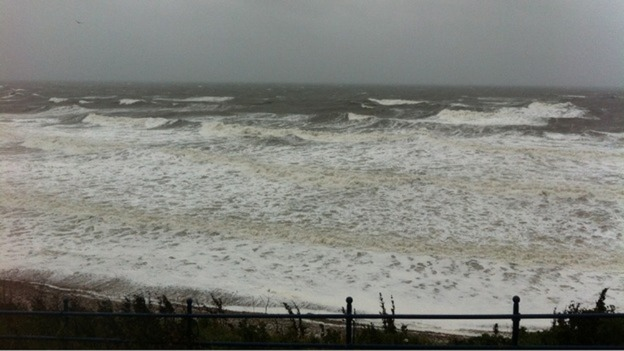 Strong winds and heavy rain hit coastal areas in Northumberland today.