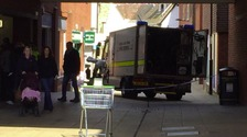 Bomb disposal teams at work in Huntingdon