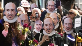 Prince Charles joins actors on stage for Shakespeare celebrations