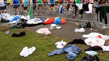 London Marathon clear up to remove 40,000 water bottles.