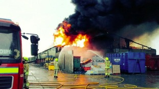Fire crews from three counties battle factory blaze