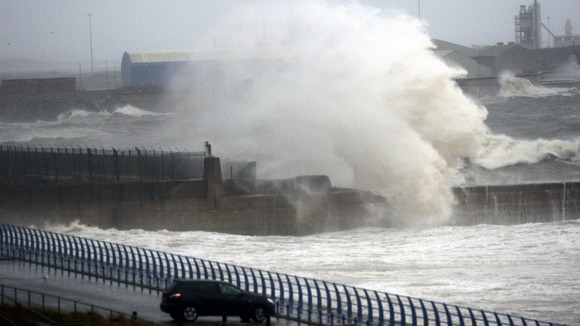 Giant waves in Sunderland today as the country is hit by gale force winds.