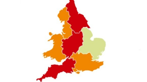 Flood warnings in Britain today are pictured in red and flood alerts in orange.