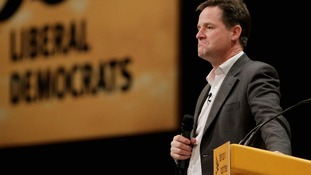 Nick Clegg at party's conference in Brighton