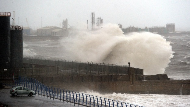 The North East of England, where there is one flood warning, is engulfed in heavy rain.