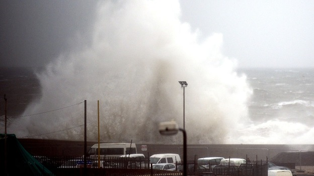 Giant waves hit Sunderland today.