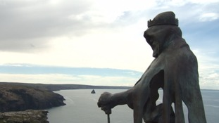 King Arthur statue revealed at Tintagel Castle after claims the landmark is becoming like Disneyland
