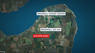 The burned out caravan was found on land off Maldon Road