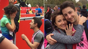 'It was the perfect opportunity': London Marathon runner tells ITV News the story behind the adorable proposal pictures
