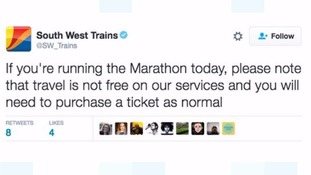 South West Trains criticised for free travel tweet