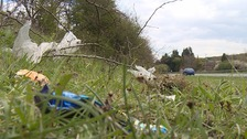 Litter along the A249 in Kent