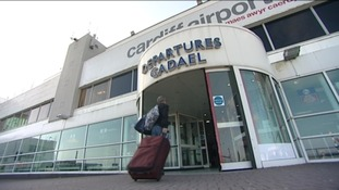 Cardiff Airport with passenger entering