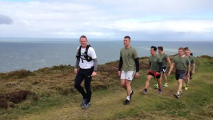 Royal Marines are joining him for parts of the route.