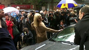 Britt Ekland arrives at Oxford Street