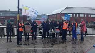 Picket outside the James Cook University Hospital in Middlesbrough on Tuesday morning.
