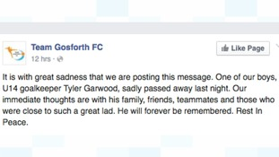 Team Gosforth FC release a tribute on their Facebook page