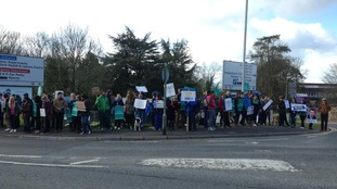Junior doctors on the picket line at Derrifod Hospital in Plymouth