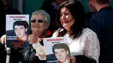 Relatives of Peter McDonnell, who died in the Hillsborough disaster, outside the Hillsborough Inquest in Warrington