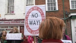 Protestors in Bungay