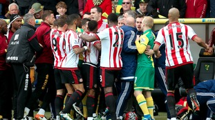 Tempers flare on the touchline after a robust challenge on Sunderland's DeAndre Yedlin during the Barclays Premier League match at Carrow Road, Norwich.