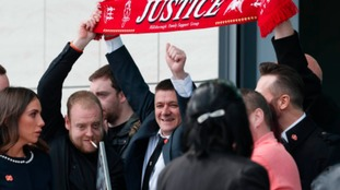 Relatives of the victims who died in the Hillsborough disaster outside the Hillsborough Inquest in Warrington, where the inquest jury concluded that the 96 Liverpool fans who died in the Hillsborough disaster were unlawfully killed.