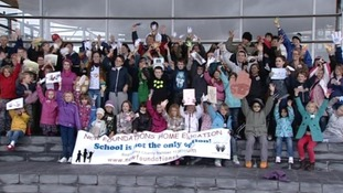 Campaigners gather outside the Senedd