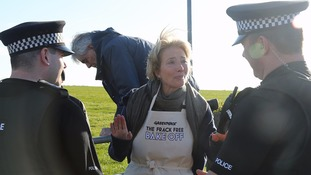 Emma Thompson breaks court injunction to protest against potential fracking site in Lancashire