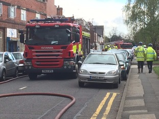 Fire service at the scene of the fire.