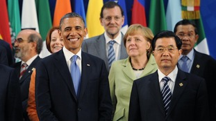 Barack Obama poses with Angela Merkel and some of the G20 world leaders