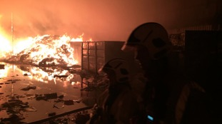 Firefighter tackling the flames overnight.