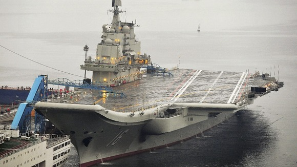 China's first aircraft carrier is docked in Dalian, Liaoning.