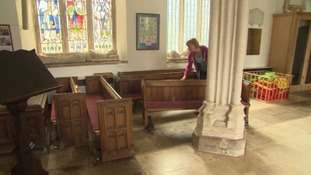 The pews have been put on wheels to create a community space after worship