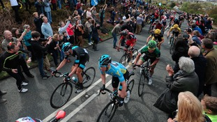 Team Sky's David Lopez (left) nears the summit of the Cote de Cow and Calf during the Tour de Yorkshire between Wakefield and Leeds.