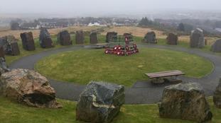 Granite plinths at the Isle of Lewis War memorial Stornaway
