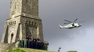 A Merlin conducted a flypast of the memorial