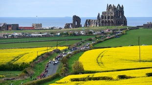 The Peloton ride up Hawsker Lane, Whitby, during the Tour de Yorkshire between Bridlington and Scarborough.