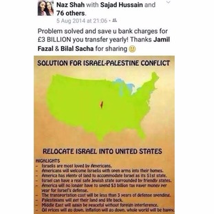 Facebook post by MP Naz Shah