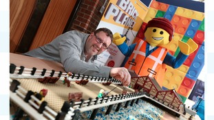 Mark Willis with his recreation of Saltburn Pier