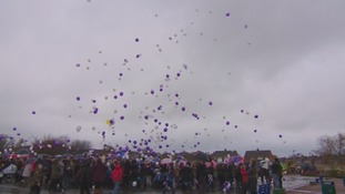 Balloon release in memory of two children who died in a French motorway crash.