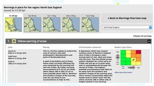 Warning of snow from the Met Office for parts of Northumberland