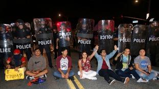 Protests cause chaos at California Trump rally