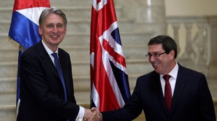 Foreign secretary Hammond and Cuba's Foreign Minister Parrilla