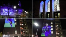 Leicester lit-up in blue in support of Foxes title hopes