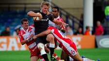 Falcons' Chris Harris is taken down against Gloucester